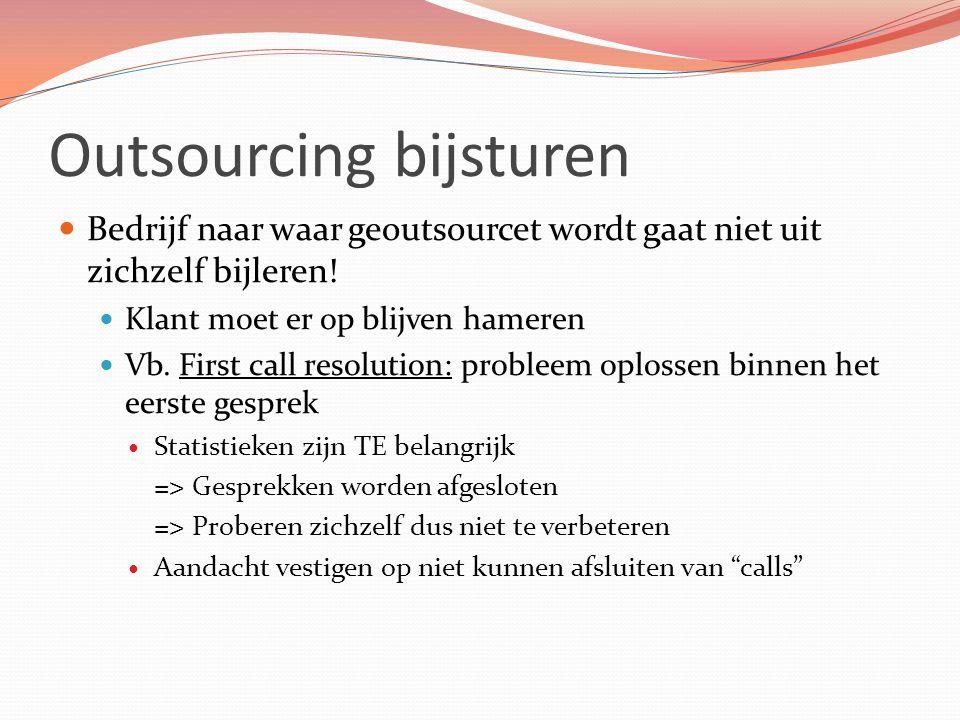 Outsourcing bijsturen