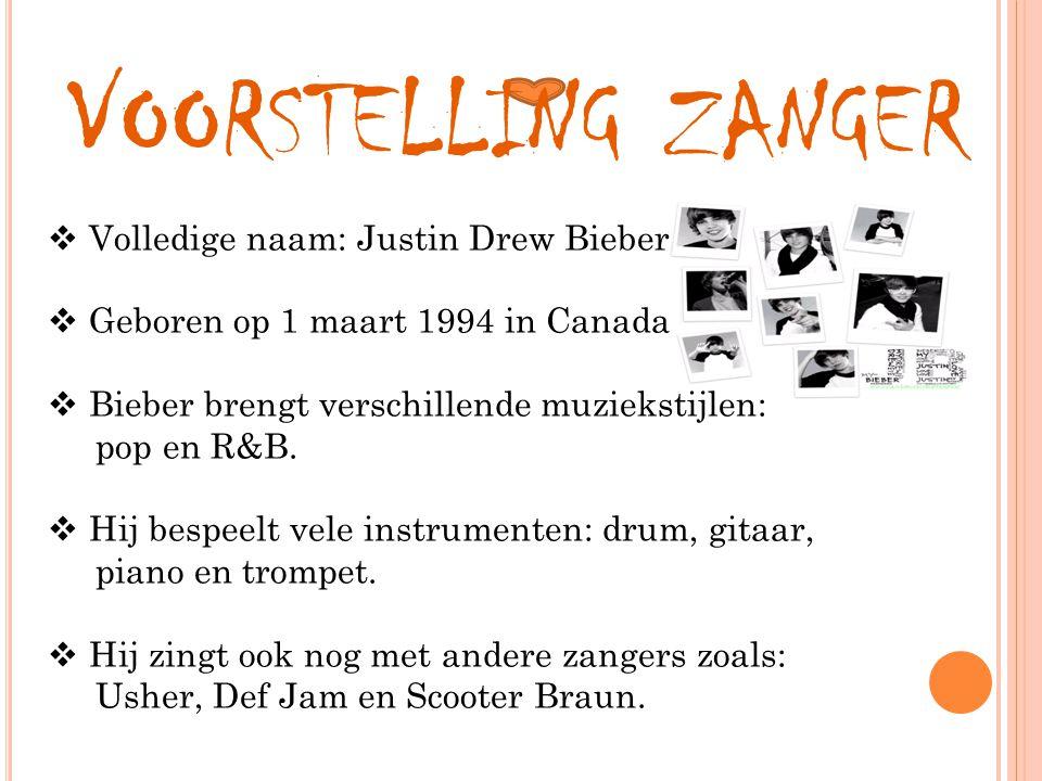 Voorstelling zanger Volledige naam: Justin Drew Bieber