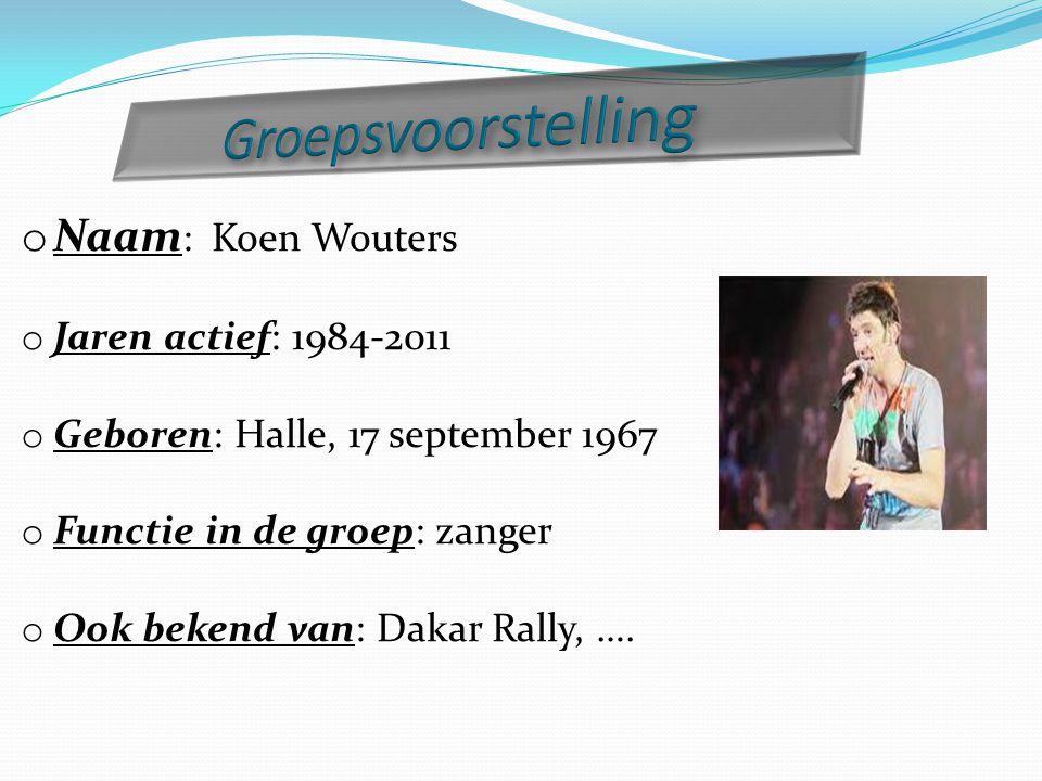 Groepsvoorstelling Naam: Koen Wouters Jaren actief: 1984-2011