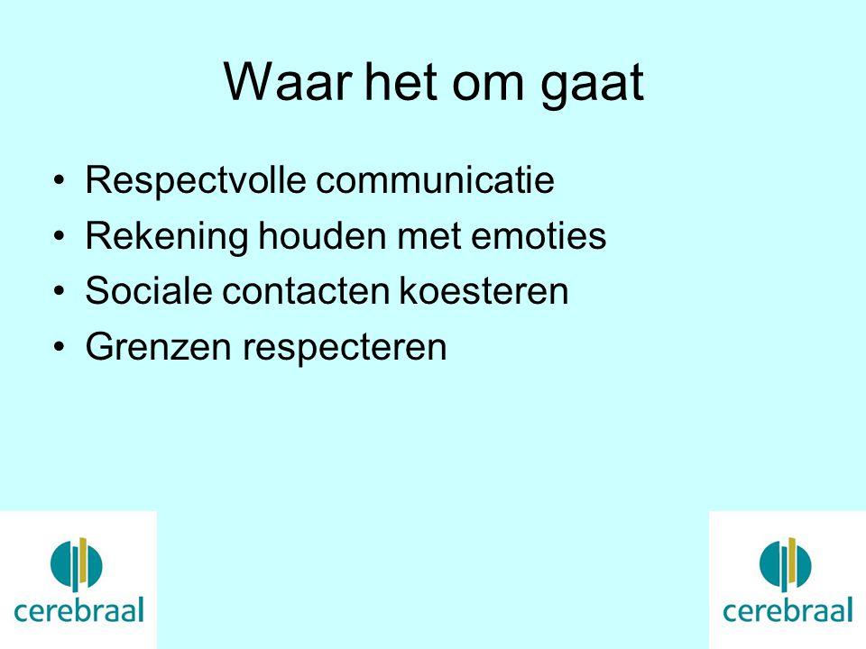 Waar het om gaat Respectvolle communicatie Rekening houden met emoties