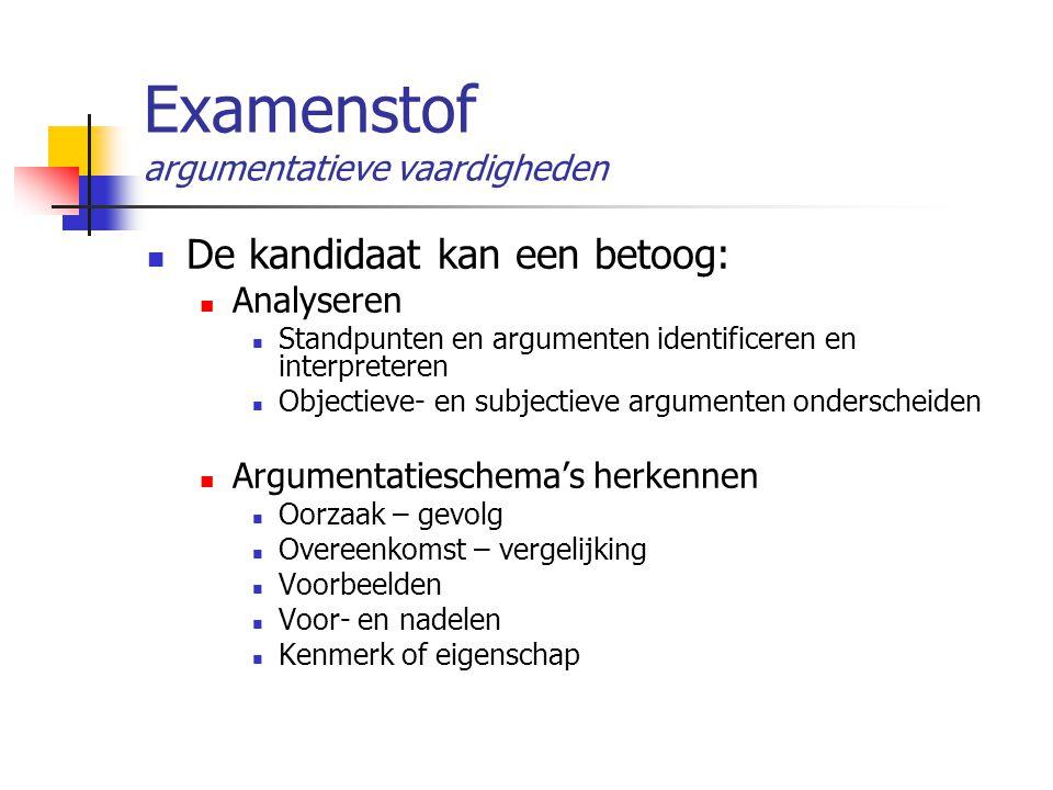 Examenstof argumentatieve vaardigheden