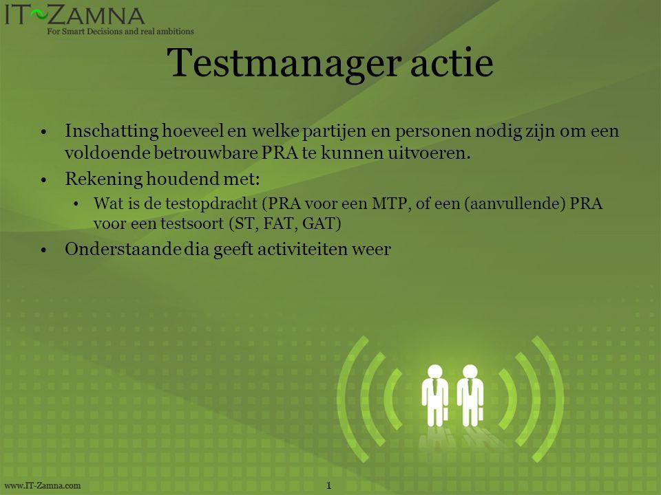 Testmanager actie Inschatting hoeveel en welke partijen en personen nodig zijn om een voldoende betrouwbare PRA te kunnen uitvoeren.