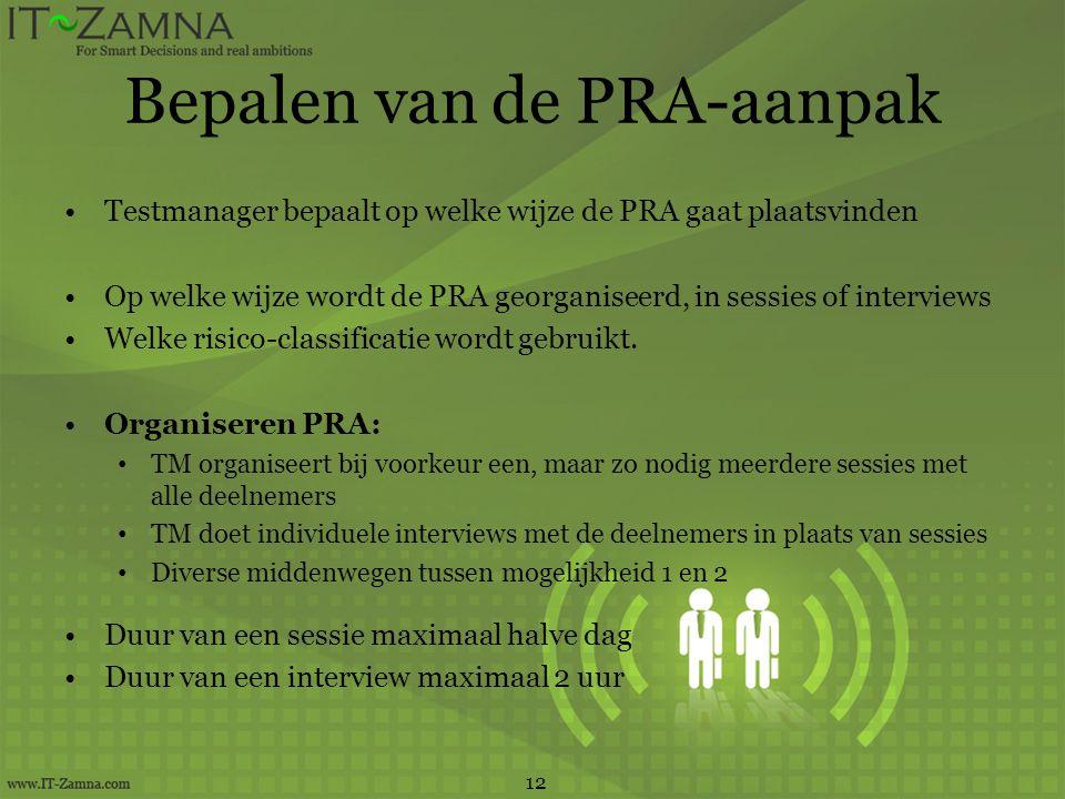 Bepalen van de PRA-aanpak