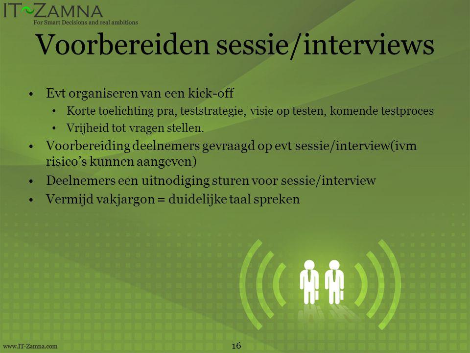 Voorbereiden sessie/interviews