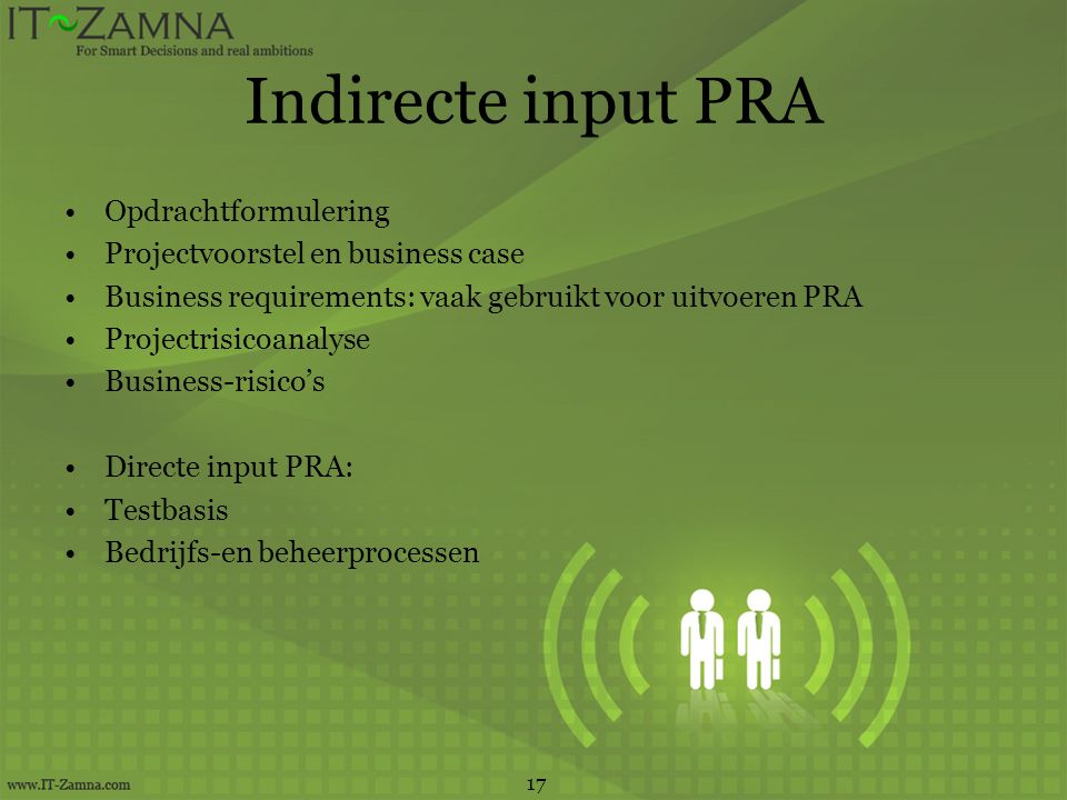 Indirecte input PRA Opdrachtformulering