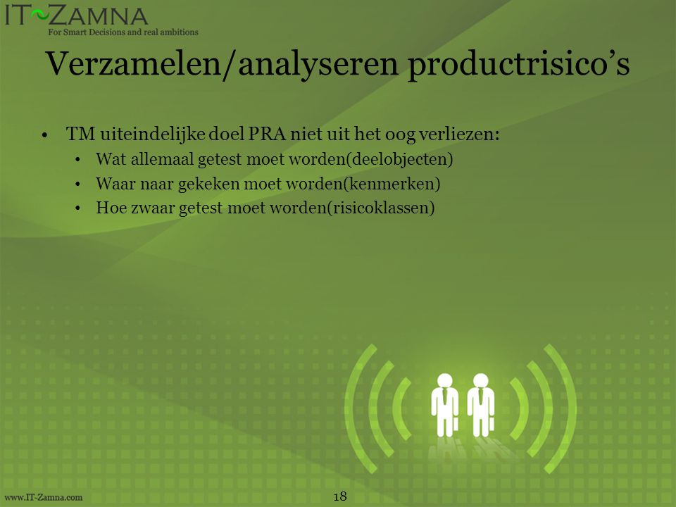 Verzamelen/analyseren productrisico's