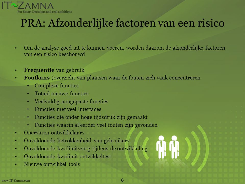 PRA: Afzonderlijke factoren van een risico