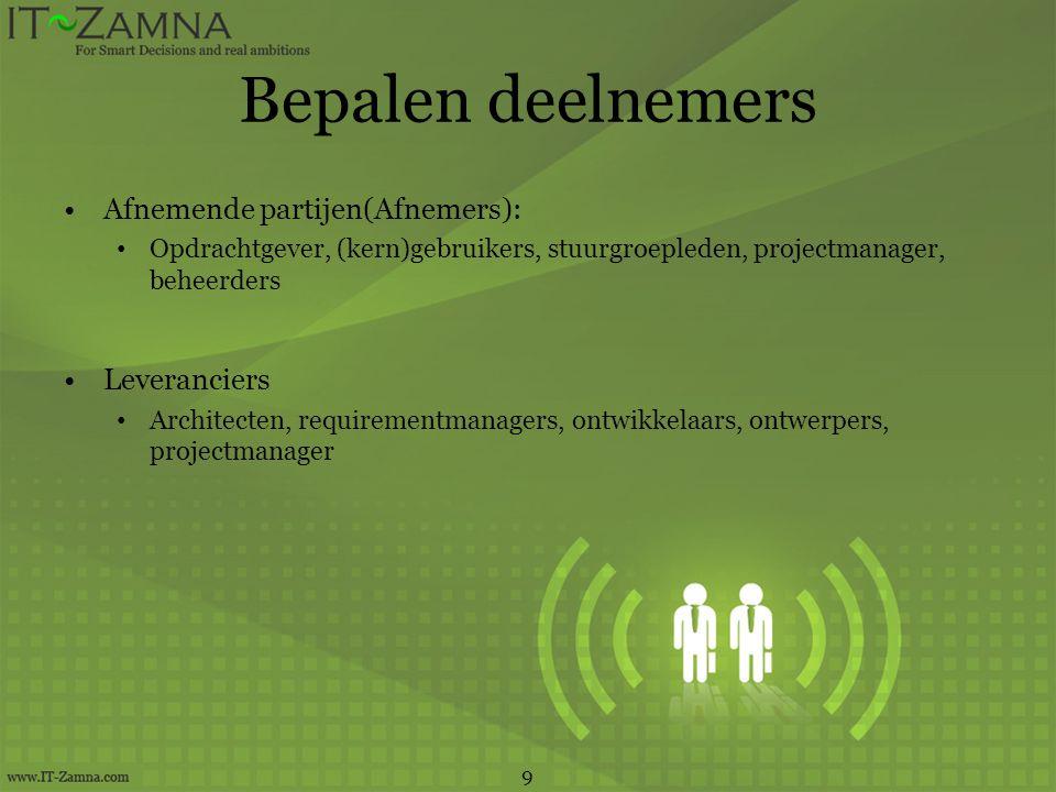 Bepalen deelnemers Afnemende partijen(Afnemers): Leveranciers