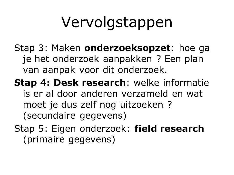 Vervolgstappen Stap 3: Maken onderzoeksopzet: hoe ga je het onderzoek aanpakken Een plan van aanpak voor dit onderzoek.
