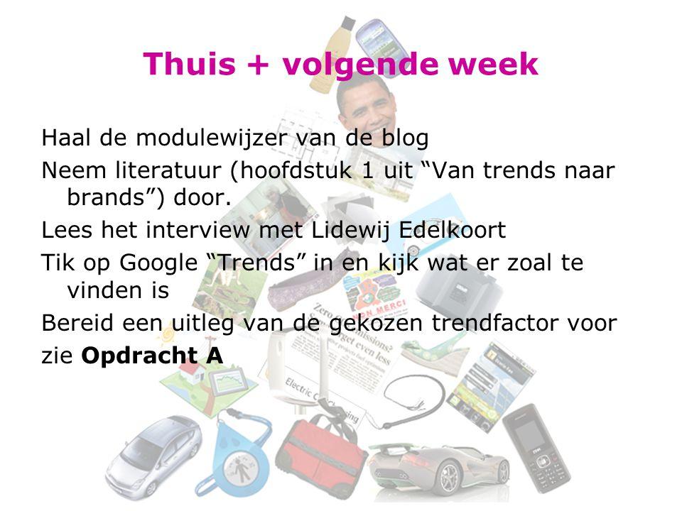 Thuis + volgende week Haal de modulewijzer van de blog