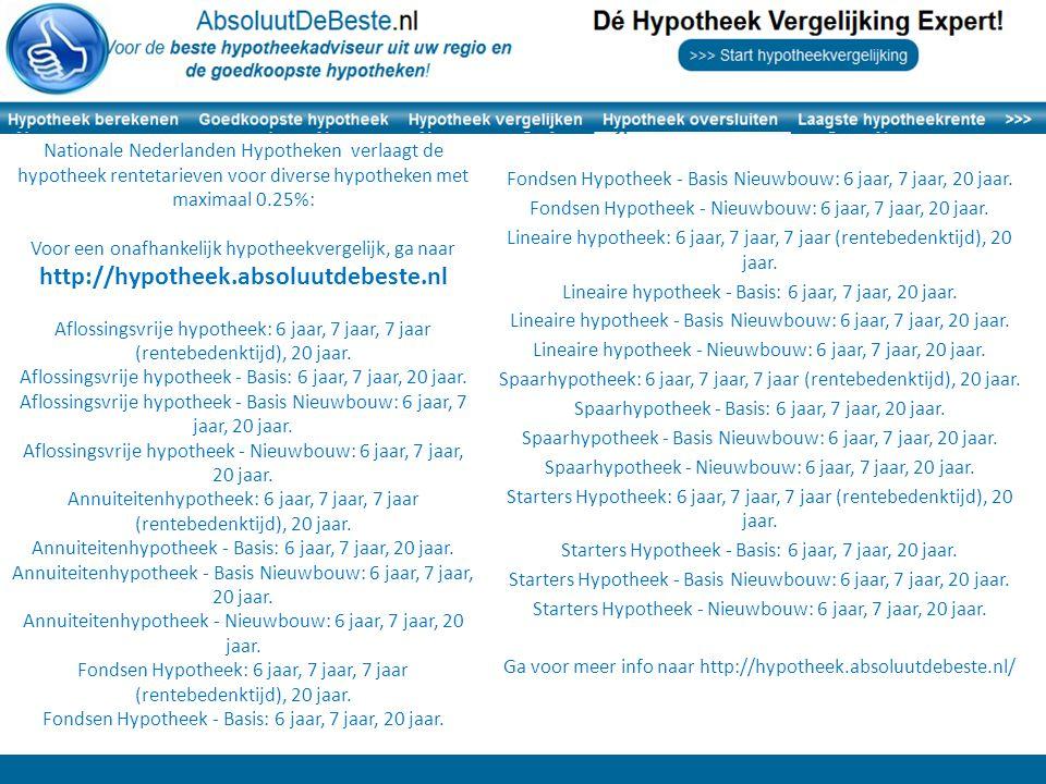 Fondsen Hypotheek - Basis Nieuwbouw: 6 jaar, 7 jaar, 20 jaar.