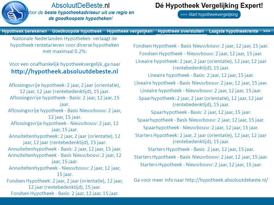 Fondsen Hypotheek - Basis Nieuwbouw: 2 jaar, 12 jaar, 15 jaar.