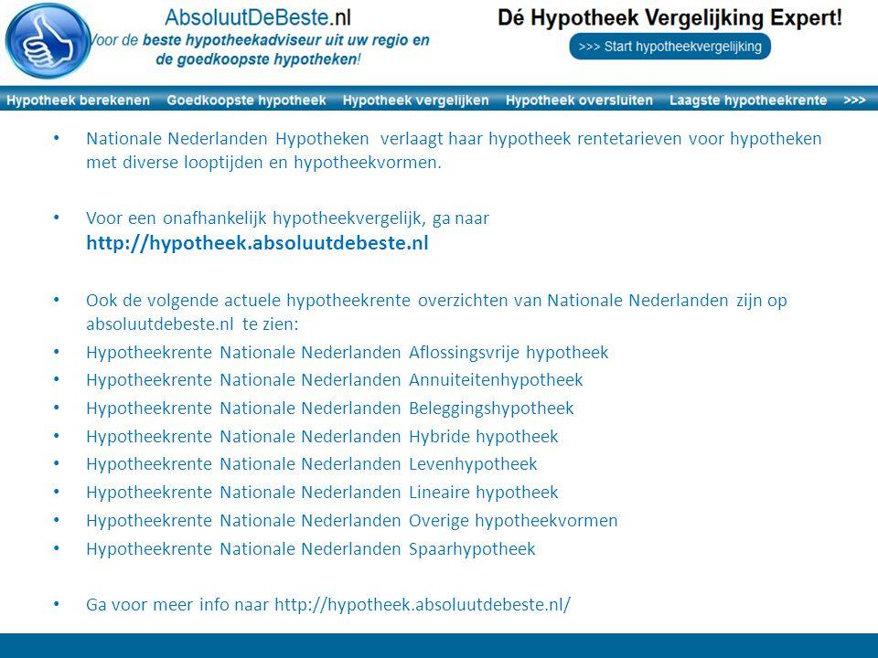 Nationale Nederlanden Hypotheken verlaagt haar hypotheek rentetarieven voor hypotheken met diverse looptijden en hypotheekvormen.