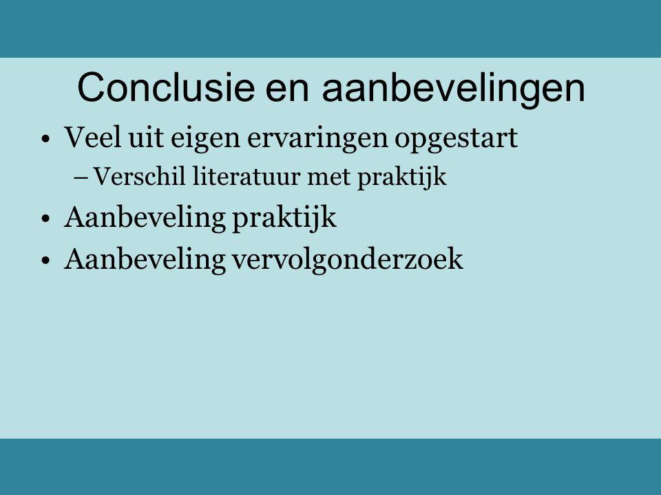 Conclusie en aanbevelingen