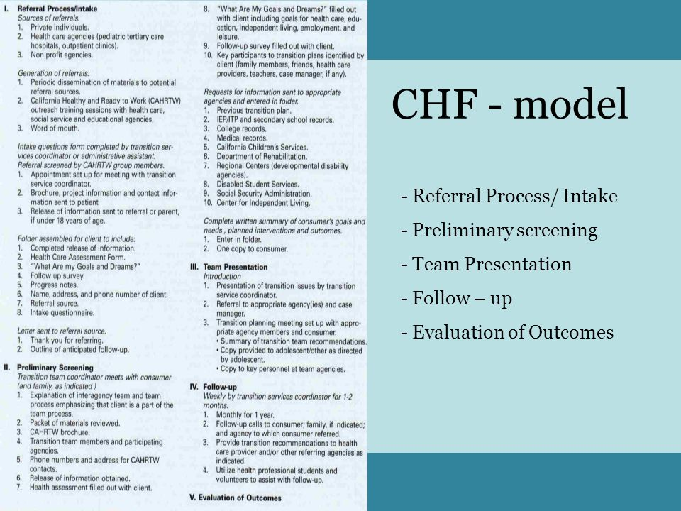 CHF - model Referral Process/ Intake Preliminary screening