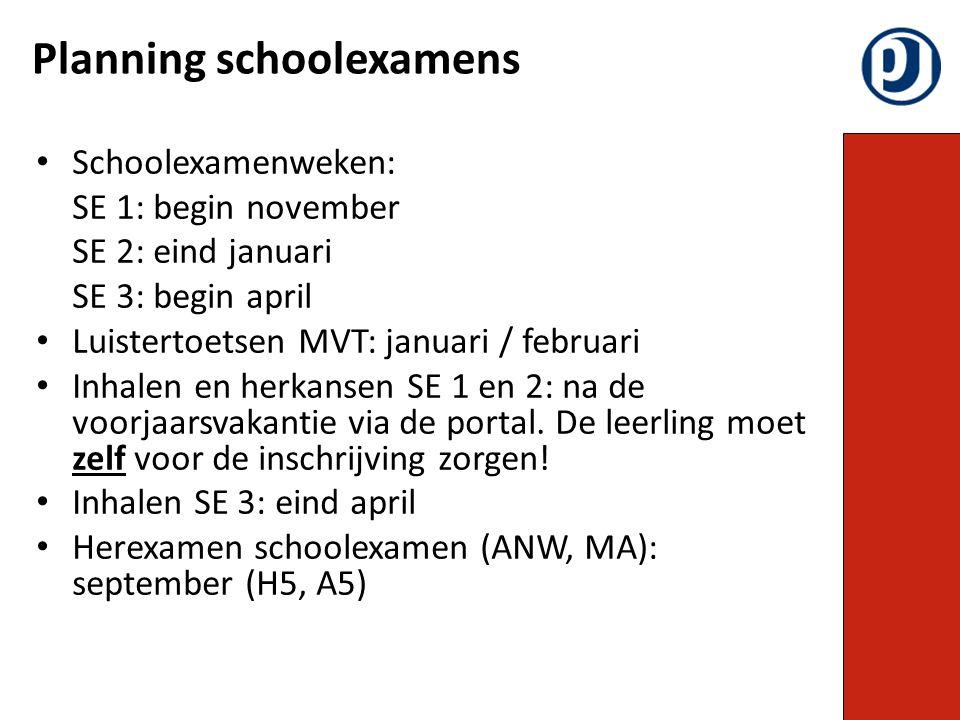 Planning schoolexamens