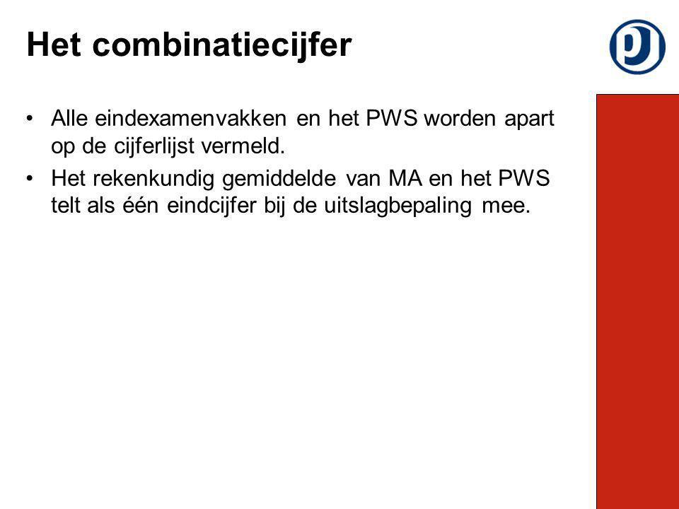 Het combinatiecijfer Alle eindexamenvakken en het PWS worden apart op de cijferlijst vermeld.