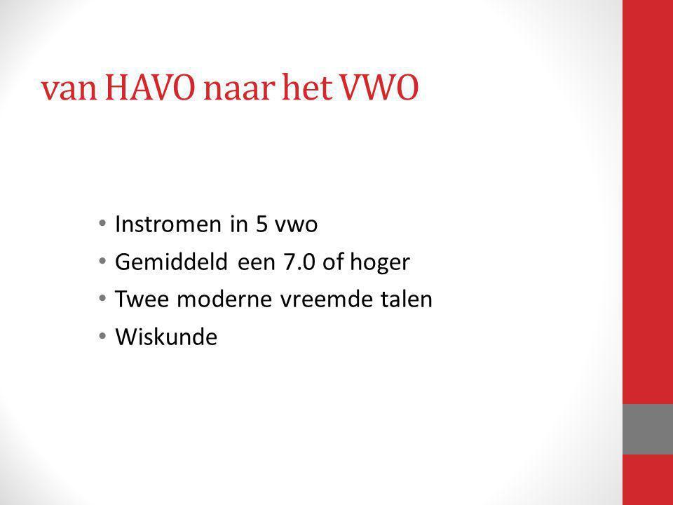 van HAVO naar het VWO Instromen in 5 vwo Gemiddeld een 7.0 of hoger