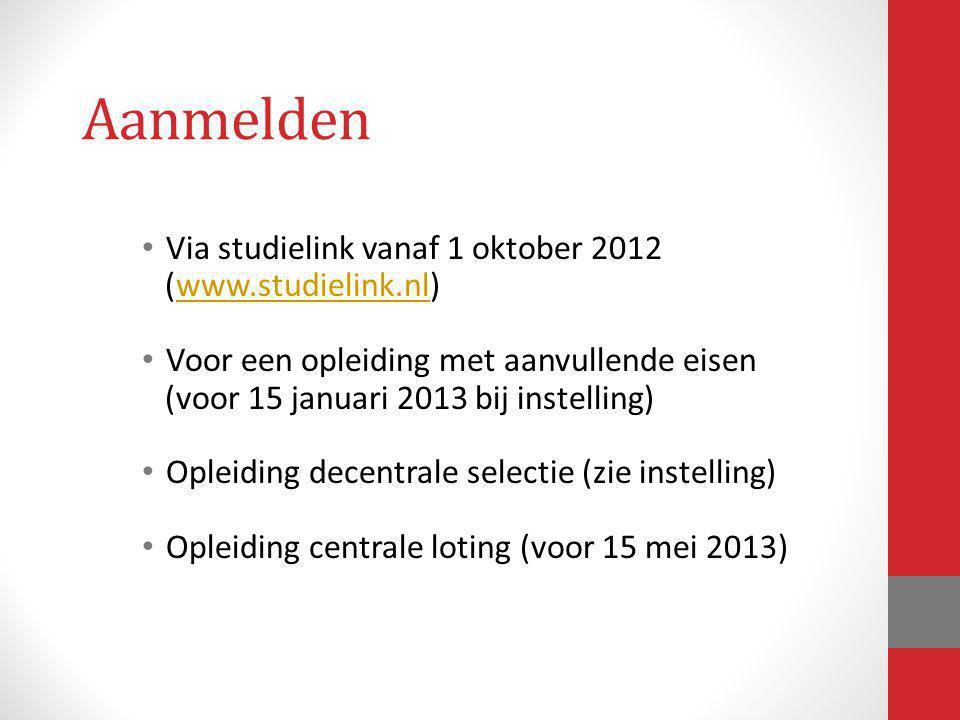 Aanmelden Via studielink vanaf 1 oktober 2012 (www.studielink.nl)