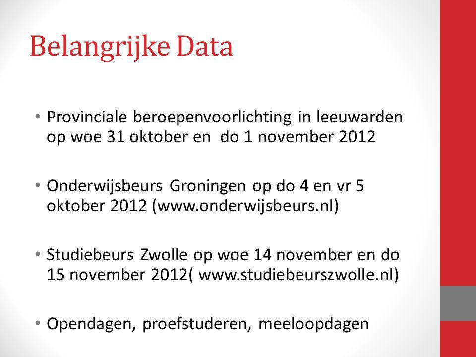 Belangrijke Data Provinciale beroepenvoorlichting in leeuwarden op woe 31 oktober en do 1 november 2012.