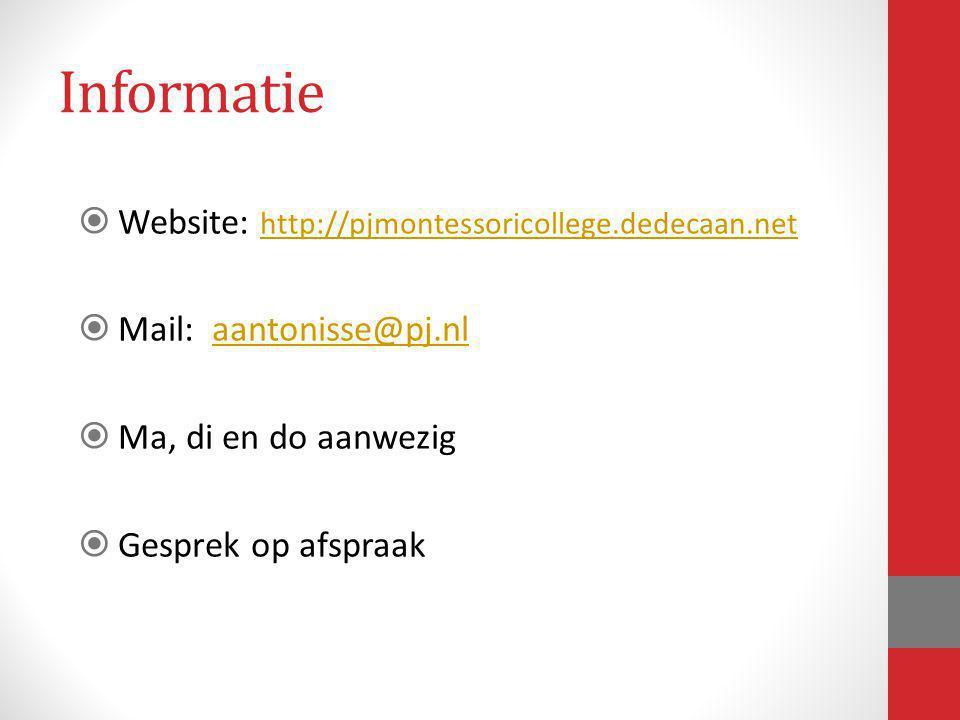 Informatie Website: http://pjmontessoricollege.dedecaan.net