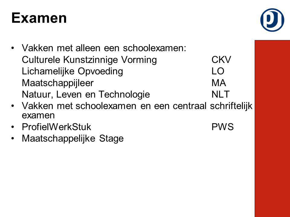 Examen Vakken met alleen een schoolexamen:
