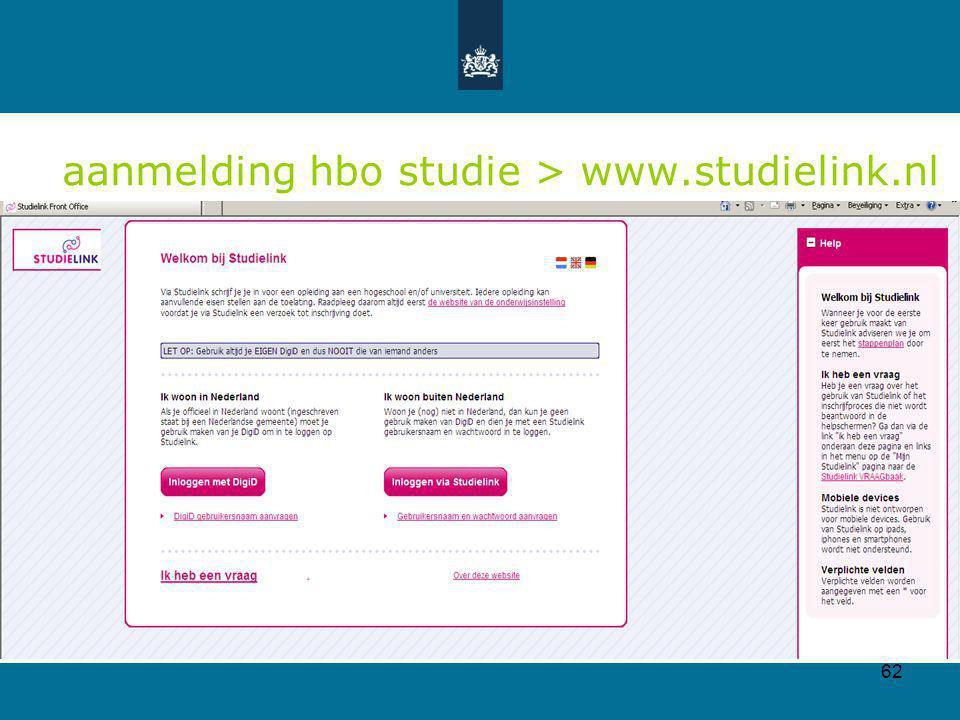 aanmelding hbo studie > www.studielink.nl