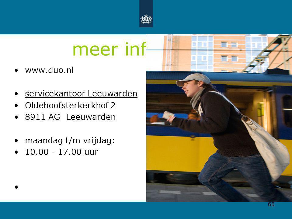 meer informatie www.duo.nl servicekantoor Leeuwarden