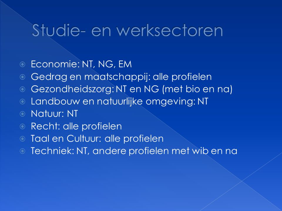 Studie- en werksectoren