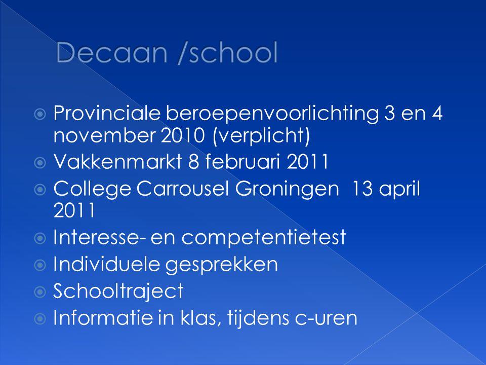 Decaan /school Provinciale beroepenvoorlichting 3 en 4 november 2010 (verplicht) Vakkenmarkt 8 februari 2011.