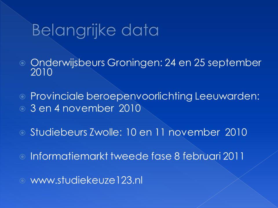Belangrijke data Onderwijsbeurs Groningen: 24 en 25 september 2010