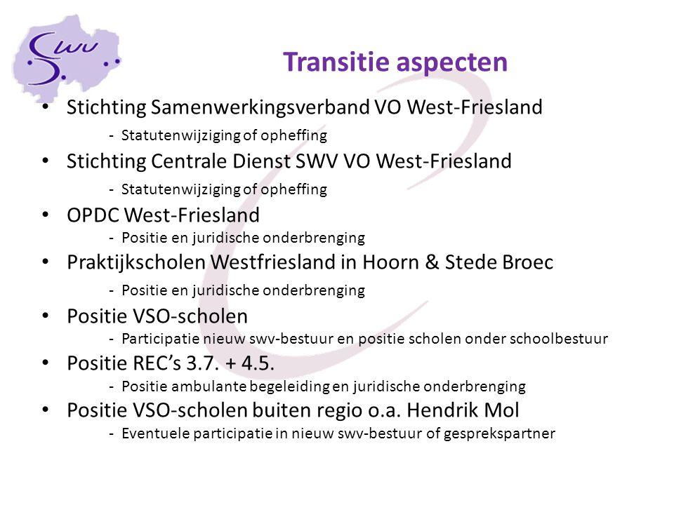Transitie aspecten Stichting Samenwerkingsverband VO West-Friesland