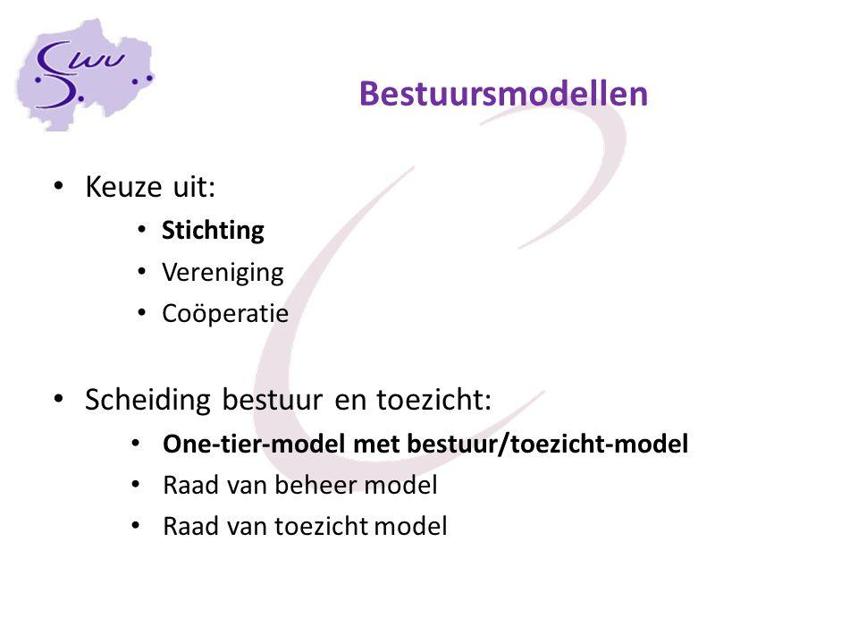 Bestuursmodellen Keuze uit: Scheiding bestuur en toezicht: Stichting