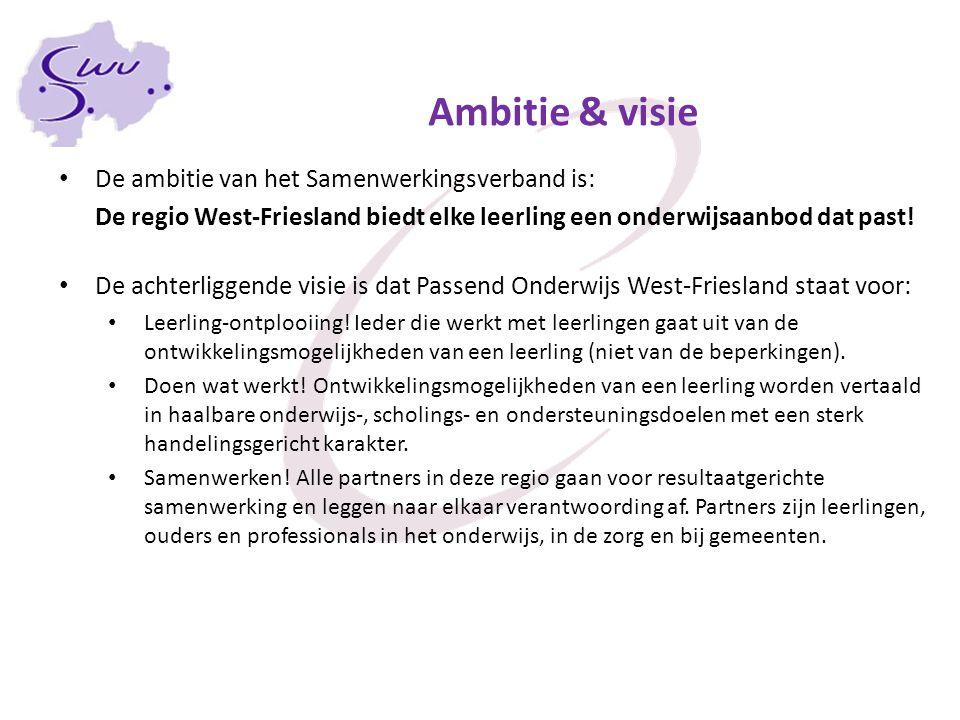 Ambitie & visie De ambitie van het Samenwerkingsverband is: