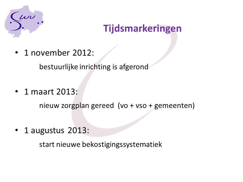 Tijdsmarkeringen 1 november 2012: bestuurlijke inrichting is afgerond