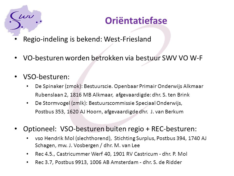 Oriëntatiefase Regio-indeling is bekend: West-Friesland