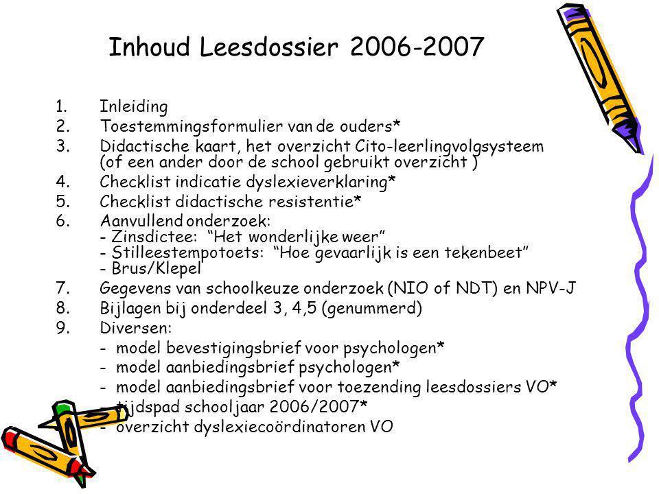 Inhoud Leesdossier 2006-2007 Inleiding