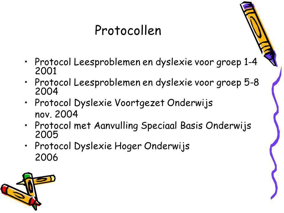 Protocollen Protocol Leesproblemen en dyslexie voor groep 1-4 2001