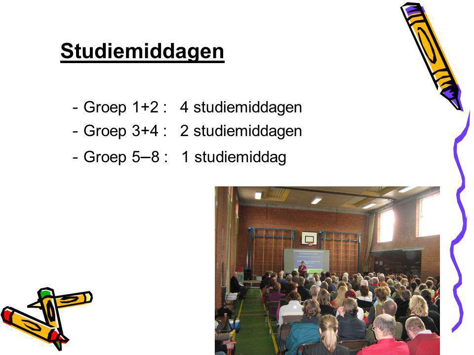 Studiemiddagen - Groep 1+2 : 4 studiemiddagen