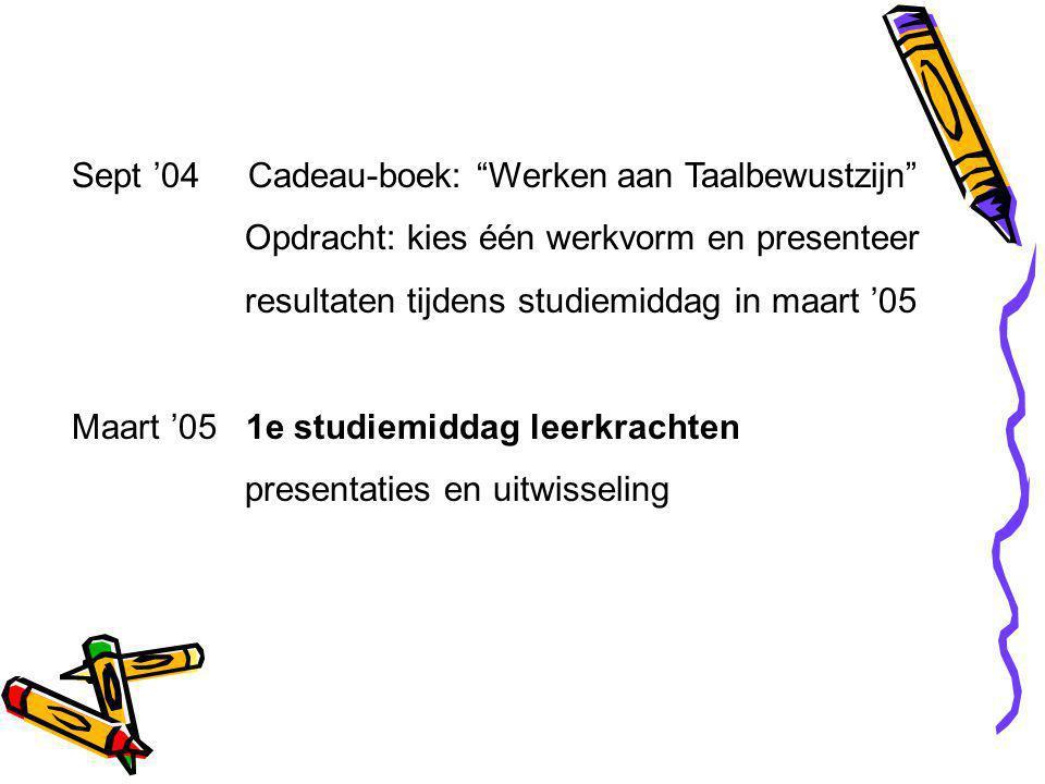 Sept '04 Cadeau-boek: Werken aan Taalbewustzijn