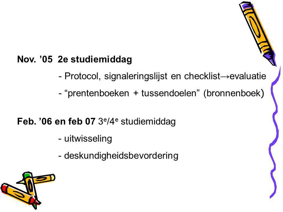 Nov. '05 2e studiemiddag - Protocol, signaleringslijst en checklist→evaluatie. - prentenboeken + tussendoelen (bronnenboek)