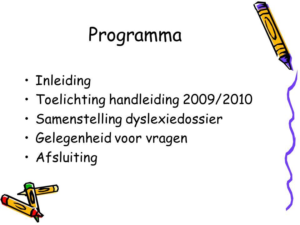 Programma Inleiding Toelichting handleiding 2009/2010