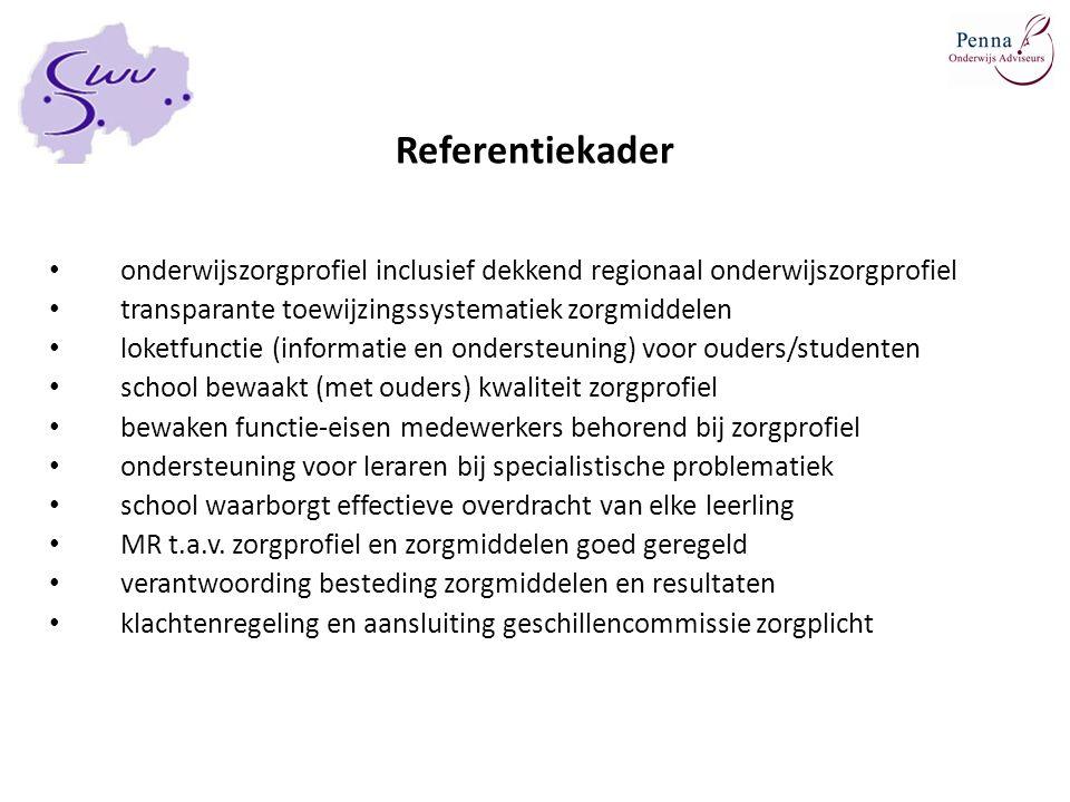 Referentiekader onderwijszorgprofiel inclusief dekkend regionaal onderwijszorgprofiel. transparante toewijzingssystematiek zorgmiddelen.