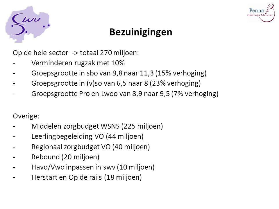 Bezuinigingen Op de hele sector -> totaal 270 miljoen: