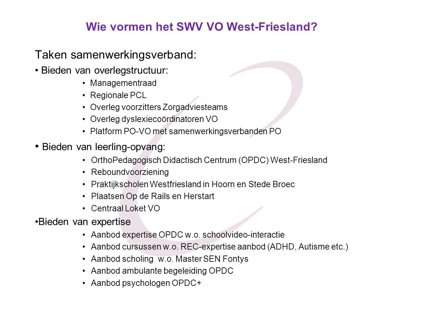 Wie vormen het SWV VO West-Friesland