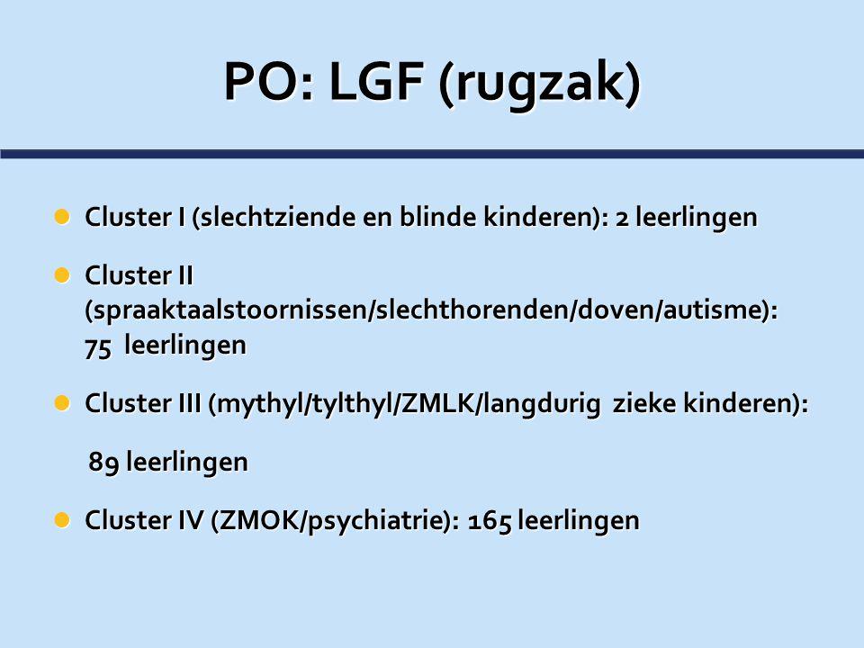 PO: LGF (rugzak) Cluster I (slechtziende en blinde kinderen): 2 leerlingen.