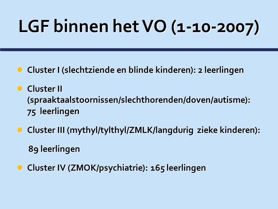 LGF binnen het VO (1-10-2007) Cluster I (slechtziende en blinde kinderen): 2 leerlingen.