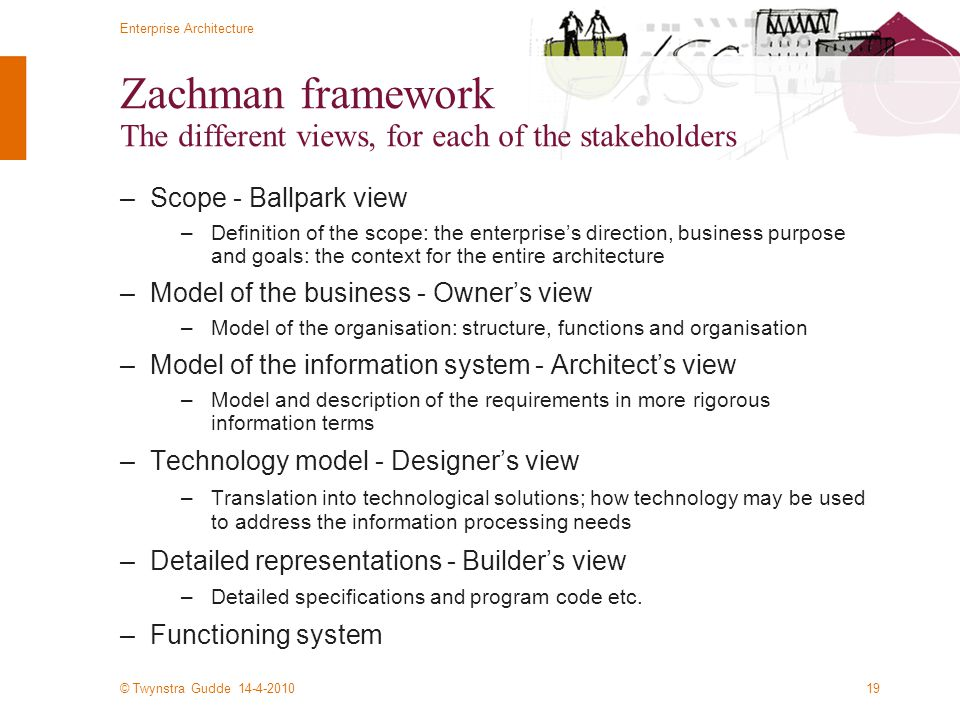 Zachman framework The different views, for each of the stakeholders