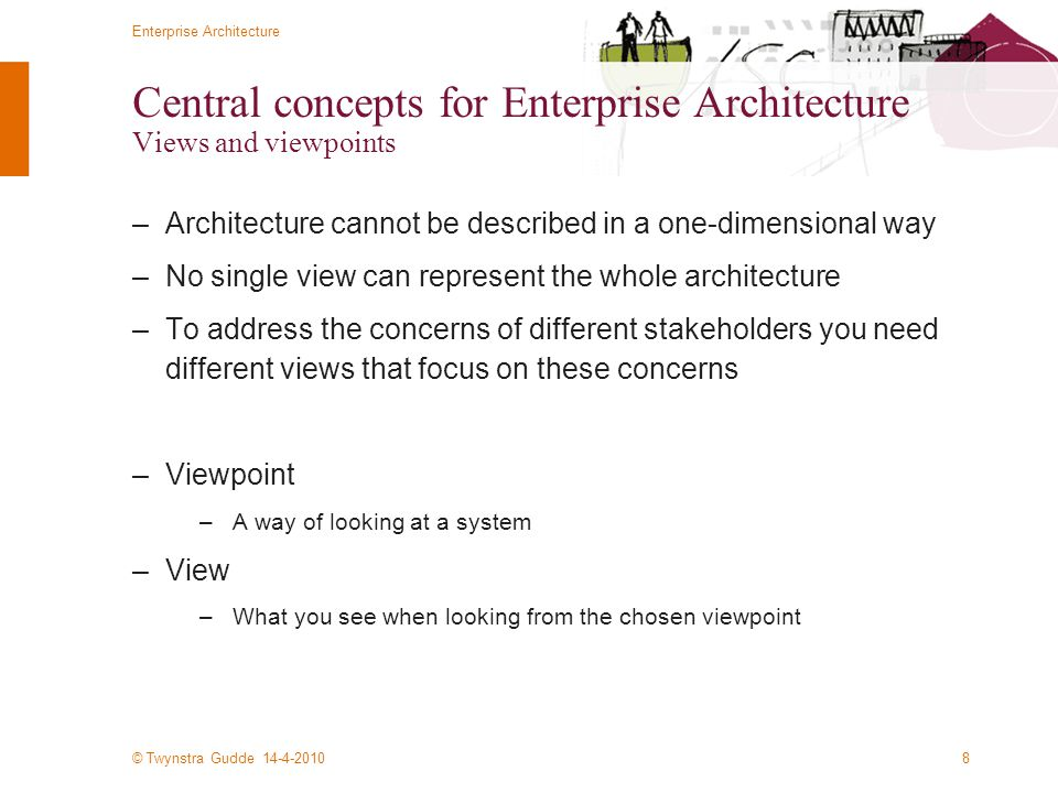 Central concepts for Enterprise Architecture Views and viewpoints