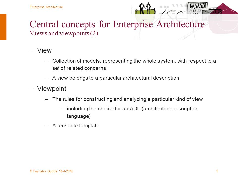 Central concepts for Enterprise Architecture Views and viewpoints (2)
